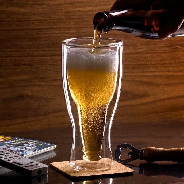 Чаша за Бира - Обърната Бутилка - Пълна с Бира