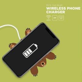 Безжично Зарядно за Телефон - Мечокът Брус Зареждане