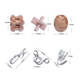 Комплект 3D Пъзели от Дърво и Метал - Размери